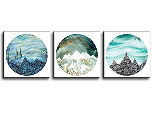 Abstract Blue Galaxy Over Mountains Canvas Painting, Trees and Hills Under Starry Night Sky, Pisces and Leo Constellation Stars Wall Art, White Snow Picture, 3 Pieces Round Scene Modern Home Decor