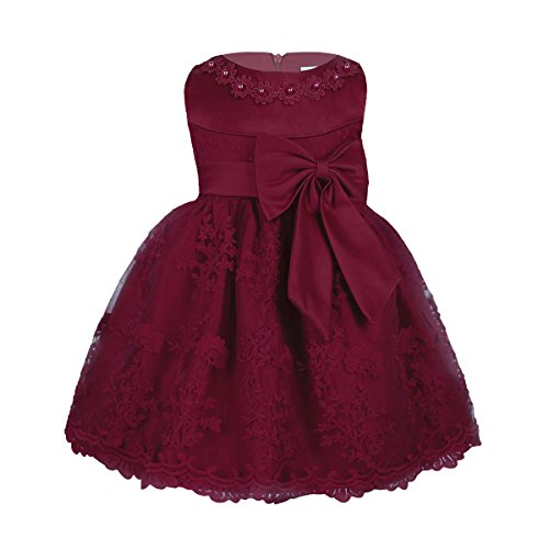 iEFiEL Baby Girls Lace Bowknot Flower Dress Wedding Pageant Baptism Christening Tutu Gown Burgundy Floral Embroidered 12-18 Months
