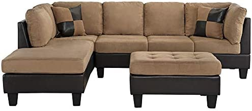 home, kitchen, furniture, living room furniture,  living room sets 10 image 3-Piece Modern Reversible Microfiber / Faux Leather Sectional in USA