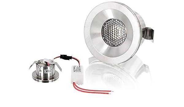 LED aluminio Mini foco empotrado - 3 W 260LM - incluye transformador - cromo brillante - luz blanca cálida (2700 K): Amazon.es: Iluminación