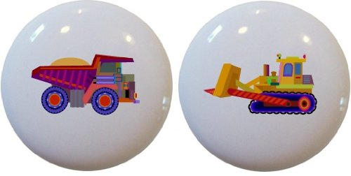 Knob Bulldozer (2 Kid's Dump Truck Bulldozer Ceramic Cabinet Drawer Pull Knobs)