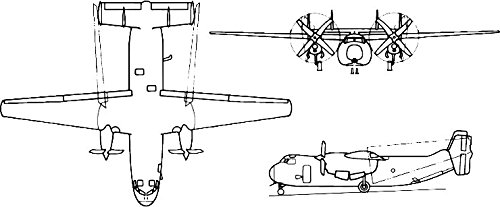 Home Comforts Three-View Drawing a Grumman C-2 Greyhound Carrier onboard delivery Aircraft.