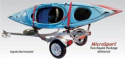 Malone Auto Racks MicroSport Trailer Kayak Transport Package with 2 Malone J-Pro2 Kayak Carriers