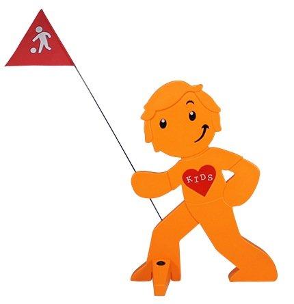 Warnfigur spielende Kinder - Streetbuddy Warnfigur Kinder Orange