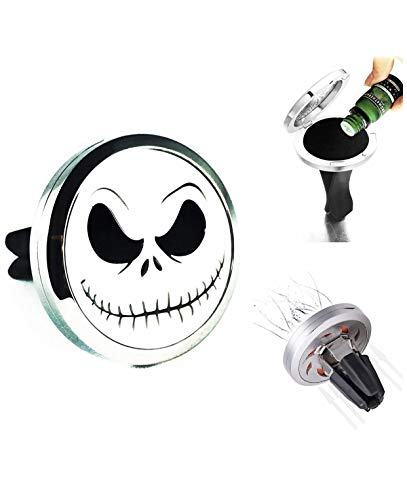 FIKA The Nightmare Before Christmas Jack Skellington Car Jewelry Air Freshener Diffuser Vent Clip Or Necklace Locket Aromatherapy Essential Oil Great for Travel. Refill Pad Included
