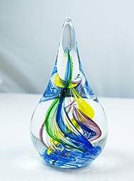 M Design Art Handcraft Glass Multicolored Rainbow Swirls Teardrop Glass Paperweight Sculpture