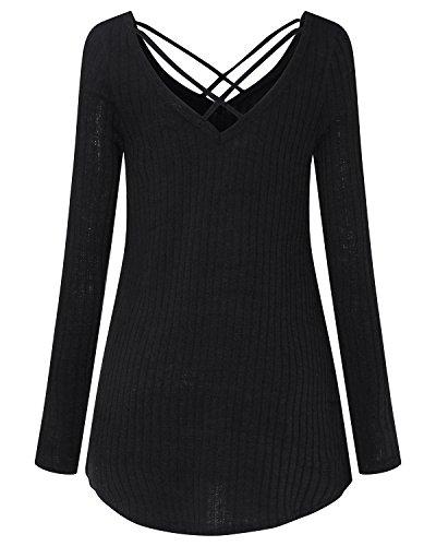 ... StyleDome Damen Pullover Langarm Schulterfrei Oversize Sweatshirt  Oberteil Tops Jumper Schwarz dOiFyv ... 69354f7c77