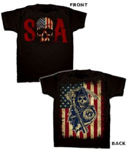 Changes Sons Of Anarchy Skull Logo And American Flag Shirt L