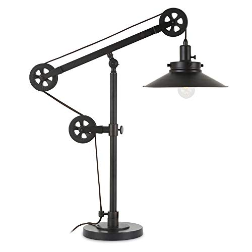 Henn Hart TL0156 Industrial Wide Brim Table Pulley System, Blackened Bronze Finish Lamp, Black