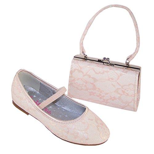 Filles d'ivoire occasion spéciale ballerine chaussures et sac à main assorti 29 EU