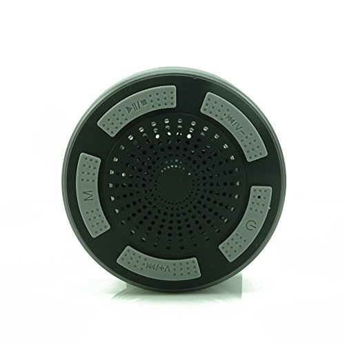IPX7 waterproof bluetooth shower speaker with FM radio and LED light-Grey
