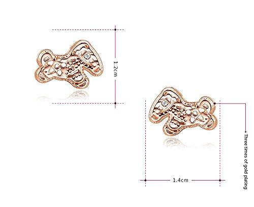 MagicGo The Little Horse Women Stud Earrings Rose Gold Plating Diamon Earings
