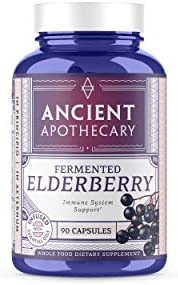 Ancient Apothecary Fermented Elderberry Supplement, 90 Capsules Infused with Organic Essential Oils, Ashwagandha Extract and Digestive Bitters