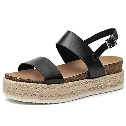 Chenghe Women's Platform Sandals Casual Espadrilles Flatform Ankle Buckle Strap Open Toe Slingback Summer Sandals Black US 6