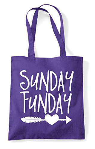 Bag Purple Feather Statement Tote Funday Heart Shopper Sunday 0qXH7
