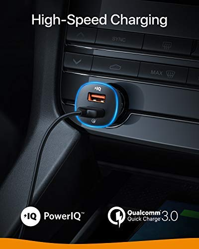 No Car Locator by Anker 30W Quick Charge 3.0 and PowerIQ Fast Charging 2-Port USB Car Charger with 16000 Color LED Ring Roav SmartCharge Spectrum Lite