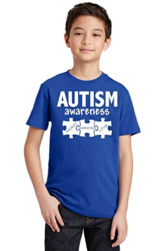 Autism Awareness Support Jigsaw Puzzle Youth T-Shirt, Youth XS, Royal