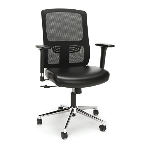 (Essentials Ergonomic Task Chair - Mesh Back and Leather Seat with Arms, Black/Chrome (ESS-3048-BLK-CHR))