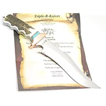 """RRR Custom Sub Hilt Bowie Elk Stag 9"""" Fixed Blade Hunting Knife & Display by Leroy Remer 1st Buck Knives Custom Maker"""