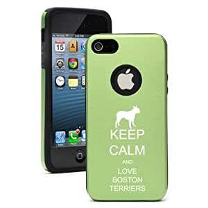 Apple iPhone 4 4s Aluminum & Silicone Case Cover Keep Calm and Love Boston Terriers (Green)
