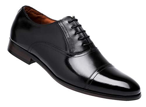 DESAI Men's Leather Dress Shoes Cap Toe Lace-up Oxford (12 M US, Black)