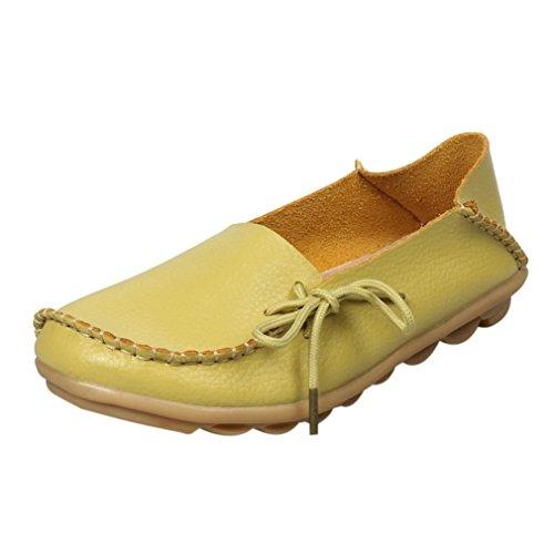 Elevin (tm) Nya Kvinnor Mode Fritid Läder Loafers Lägenheter Spets-up Ärtor Moccasin Gommino Halkfria Skor Citron