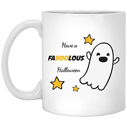 TG MUGS, Halloween Mug - Have FABOOLOUS Halloween - Ceramic Coffee Mug Tea Cup (White) (11oz) -