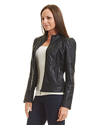 Come Together California WJC746 Womens Vegan Leather Motorcycle Jacket L Black