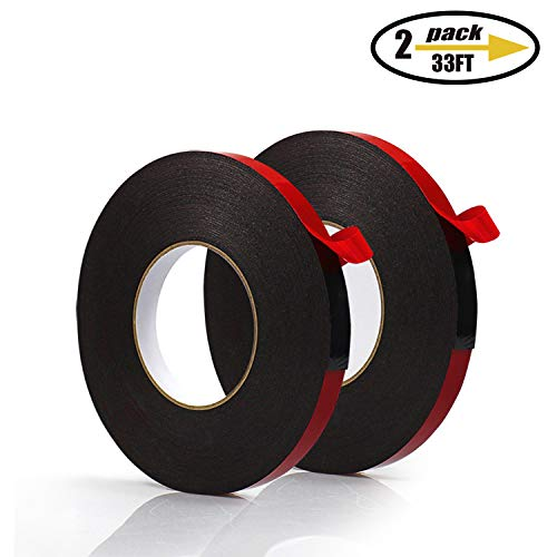 PE Foam Double-Sided Adhesive Tape -Outdoor and Indoor Super Strong Foam Seal Strip for Automotive Mounting?Weatherproof Decorative and Trim?Car Trim Strip?Photo Frame (Wide 1 1/5 in Long 66 Ft)