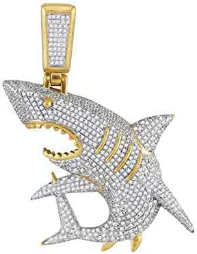 Jewels By Lux 10kt Yellow Gold Mens Diamond Shark Nautical Charm Fashion Pendant 1 & 1/2 Cttw In Pave Setting (I2 clarity; I-J color)