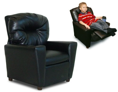 Dozydotes Child Recliner with Cup Holder Black Leather DZD9774 ()