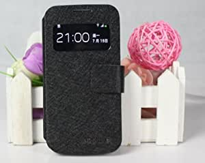 HZZ Samsung Leather Filp Case S4 Mini S view Cover (Black)