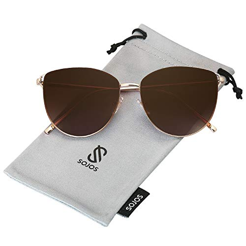 SOJOS Mirrored Flat Lens Fashion Sunglasses for Women SJ1085 SJ2036 with Gold Frame/Gradient Brown Lens