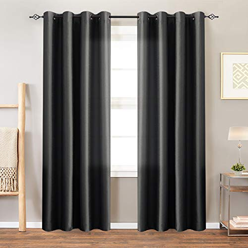 Faux Silk Curtains Black 84 inches Long Satin Curtain Panels for Bedroom Light Filtering Privacy Dupioni Living Room Window Treatment Set, Grommet Top, 2 Panels