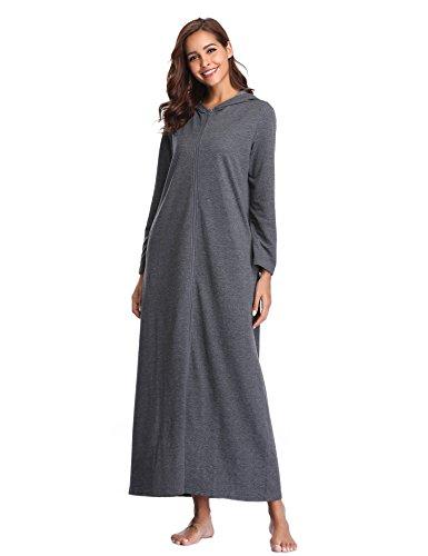 Robe Robe Gris Capuche Femmes Manches Longues de Lusofie zippe Peignoir Chambre Dressing Longue awR6t1q