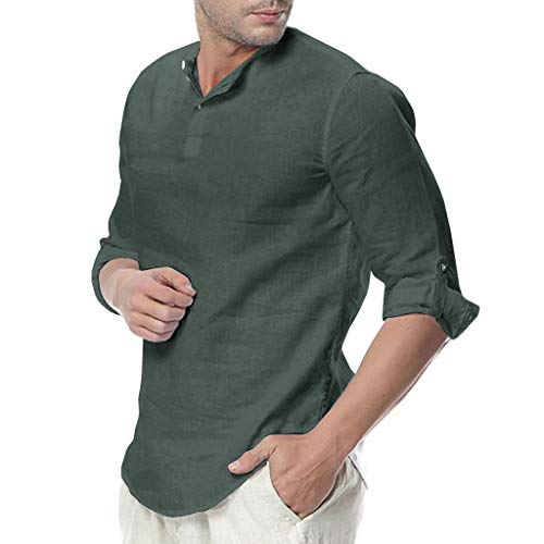 Linen Button Cropped Sleeves T Shirt,Men Solid Color Loose Top Casual Blouse