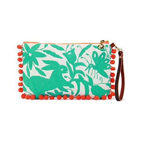 BeachLove Women's Cotton Embroidered Medium Clutch With Pom Pom Trims Leather Wristlet Strap