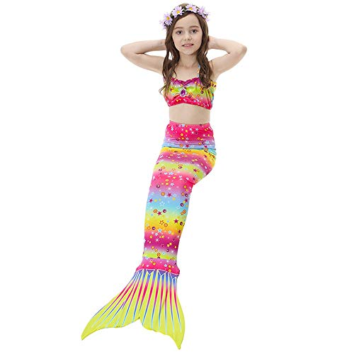 Women's Swimsuit Mermaid Tail for Swimming for Kids ,3Pcs Mermaid Tail for Baby Girls Swimming Mermaid Bathing Suits Swimsuit Bikini Set 3-12 Years (Color : C, Size : 150CM)