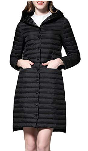Women's Weight Black Light Down Coat Jacket Hooded EKU Ultra Package fdAqHwq