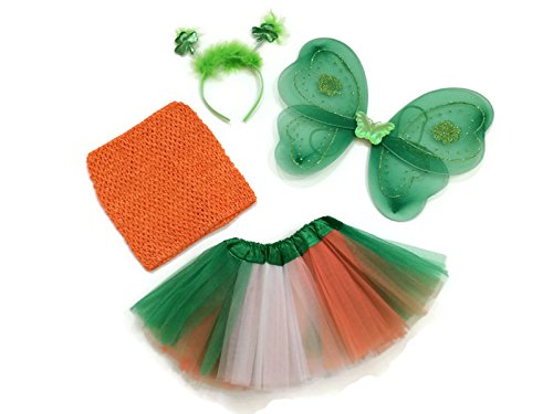 [Rush Dance St Patrick's Day Shamrock Set - Wings, Colorful Top, Headband & Tutu (Kids (2-8 Years Old),] (St Patricks Day Dance Costumes)