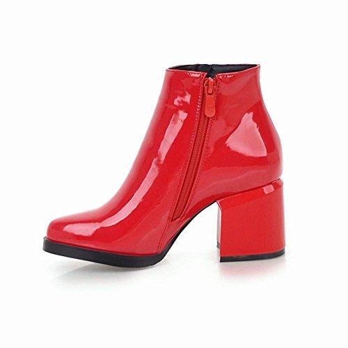 Haut Plateforme Boots Courtes Chunky YE Bottes Talon Femme Ferme Zip Bottine Vernis Hiver Bloc qwwIYvP