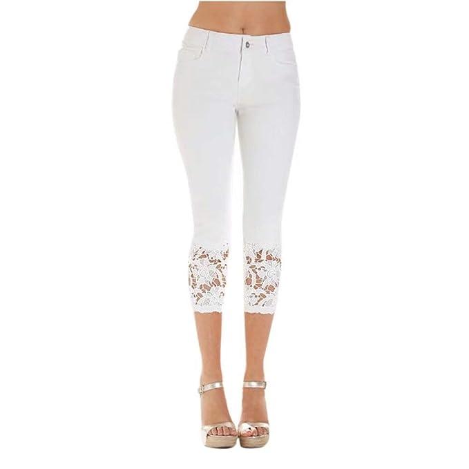 Pantalones Vaqueros para Mujer Color Sólido Empalme Encaje ...