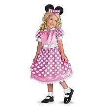 Disney Girls Pink Minnie Mouse Costume Dress with Headband Medium 8-10