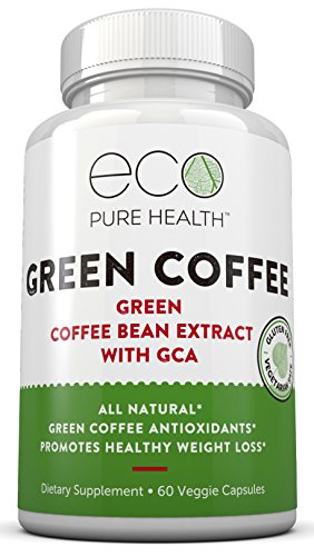 Eco Pure Health Green Coffee Bean Extract — Pure Natural Appetite Suppressant — 50% Chlorogenic Acid — 60 Veggie Capsules