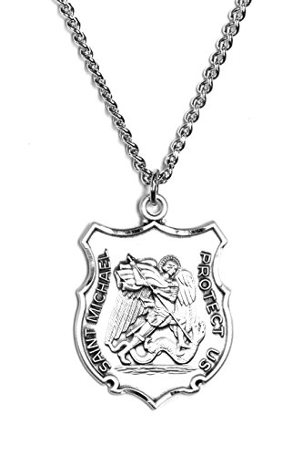 Sterling Large St. Michael Police Badge Medal 24'' Stainless Steel Chain by JCC001