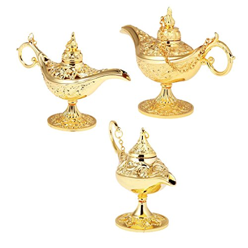 Arabian Party Dress (Jili Online 3 Pieces Gold Metal Genie Oil Lamp Aladdin Arabian Men Women Fancy Dress Party Panto)
