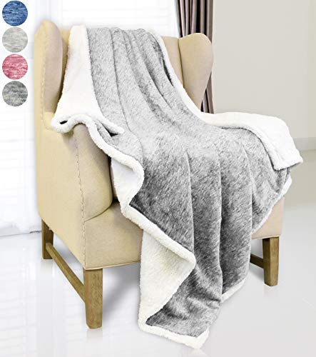 """Catalonia Grey Sherpa Throw Blanket,Super Soft Fluffy Fuzzy Comfy Velvet Plush Fleece TV Blankets and Throws for Sofa Couch Bed for Adults Child, 50""""x60"""",Melange"""