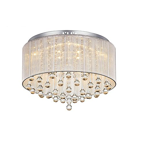 Modern Crysta l8W LED Bedroom Ceiling Lamps Silver Fabric Drawbench Lampshade Water-Drop Crystal Living room Chandelier Fixtures Study Room Ceiling Light (Small)