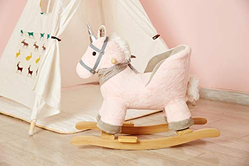 Rock My Baby Pink Rocking Unicorn with Chair,Plush Stuffed Animal Rocker,Wooden Rocking Toy Unicorn/Baby Rocker/Animal Ride on,Home Decor,for Girls,Indoor&Outdoor (Pink Unicorn) by Rock My Baby (Image #2)