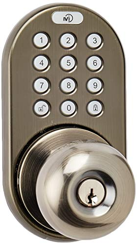 MiLocks TKK-02AQ Digital Door Knob Lock with Electronic Keypad for Interior Doors, Antique Brass
